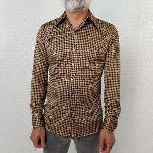 Lucien Piccard VTG 70s houndstooth disco shirt